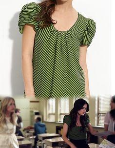 Aria wears this fun striped top in 2.05. I'm loving the green color!    Dora Landa - Stripe Silk Blouse - S.S.O.