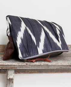 Leather zip clutch, tribal print handbag, geometric print bag, ipad case