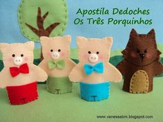 bad wolf and 3 little pigs felt finger puppets. Waldorf, Montessori, loose parts, story extenders Felt Puppets, Felt Finger Puppets, Pig Crafts, Felt Crafts, Felt Patterns, Stuffed Toys Patterns, Finger Puppet Patterns, Felt Kids, Felt Stories