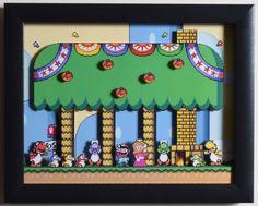 Super Mario World SNES  Yoshi's House 3D by VideoGameShadowBox