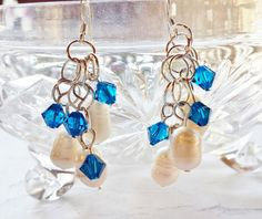 $23 Sapphire Cluster Earrings Navy Blue Swarovski Crystals and White Cultured Pearls by BlueWorldTreasures on Etsy