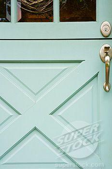 Love the idea of colored doors. Perhaps a nice shade of aqua? Aqua Front Doors, Aqua Door, Painted Front Doors, Madison Homes, Porch And Balcony, Curb Appeal, Outdoor Spaces, Paint Colors, Dutch Doors