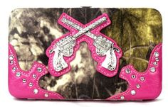Western Pistol Gun Pink Camouflage Clutch Opera Wallet #camo #country #cowgirl #accessories #fashion #popular #womens #style #trendy #handbag #purse