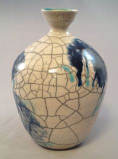 Blue Turquoise and Crackle White Raku Ceramic Vase, Unique Clay Bottle, Modern Home Decor Vessel