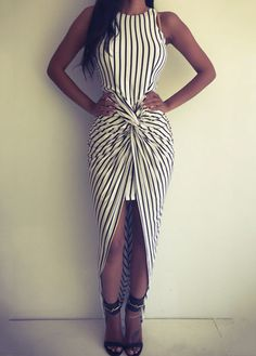 Vertical Stripe Print Ruched Front Maxi Dress on Luulla