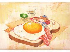 bear breakfast bedtime. toast, fried egg and bacon