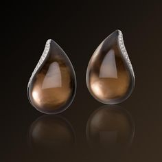 Venezia - Vhernier, white gold, white mother of pearl, smoky quartz, diamond earrings. Made in Italy