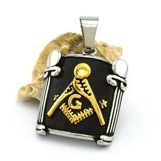 Stainless steel mason black and gold plated pendant