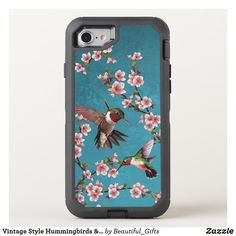 Vintage Style Hummingbirds & Blossoms OtterBox iPhone Case Cool Phone Cases, Iphone Cases, Iphone 11, Apple Iphone, Vintage Style, Vintage Fashion, Blue Cherry, Bird Patterns, Apple Logo
