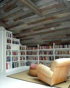 Having such a gorgeous home library in an attic would be a dream come true!