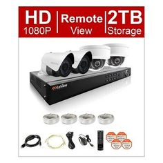 LaView 1080P HD 4 Cam 8CH IP Security Camera System 2TB Hdd, 2x Bullet and 2x Dome 1080P Cam, Remote View Night Vision Home Security