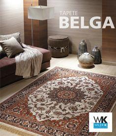 O tapete belga tem como característica principal seus pelos baixos e desenhos florais clássicos. Cores fortes e contrastes dão o tom de elegância na decoração. #tapetes #tapetebelga #wilerk #wilerktecidos