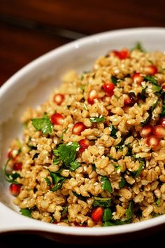 Steamed Barley with Pomegranate, Mint and Cilantro - This steamed barley gets bumped up in the flavor department with some of the usual suspects like garlic and black pepper, but warm, sweet, spicy cinnamon, nutmeg and dried marjoram join in.