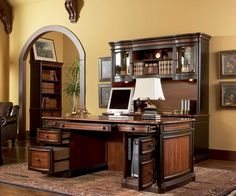 Old World Executive Computer Desk - Home Office Furniture Credenza Hutch Black Cherry and Gold 200