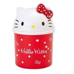 Original Sanrio Hello Kitty Face Top Mini Trash Can Bin Desktop Wastebasket Red #Sanrio
