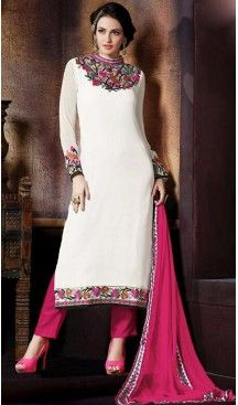 White Color Georgette Straight Cut Stitched Narrow Pants Dress | FH468572852