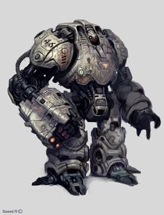 "Heavy duty mecha fighter creatively named ""Robot"" by ~SaeedRamezani #scifi #illustration"