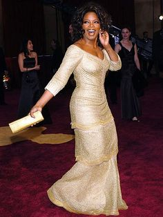 Oprah, beautiful dress.