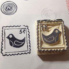 Stamp of a stamp. Hancarved by Natàlia Trias