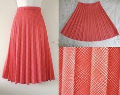 VTG 1970s Crimplene 50s Style Full Flare Sunray Pleated Long Midi Summer Skirt M   01.64