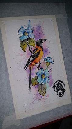 Bird draw drawing watercolour watercolor aquarela tattoo pássaro currupião