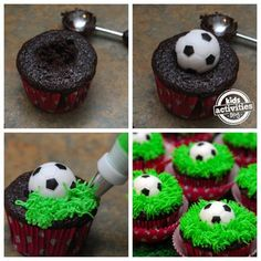 Küche-Sport-Fußball-Muffin-soccer cupcake tutorial - perfect for an end-game party! (fun cakes for boys) Sports Themed Birthday Party, Soccer Birthday Parties, Soccer Party, Sports Party, Diy Birthday, Birthday Basket, Cupcake Cakes, Cup Cakes, Cupcake
