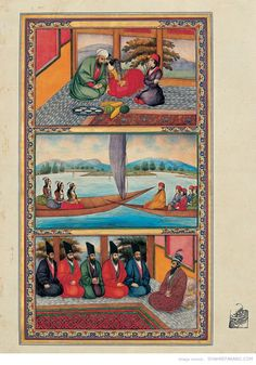 """Sani-al-Mulk's illustrations for """"One thousand and One nights"""" – (c. 1853)."""