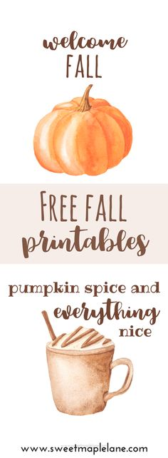 Download these free watercolor fall printables at Sweet Maple Lane and add a little fall to your home!