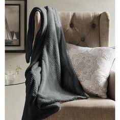 Myrcella Textured Fleece Throw, Gray