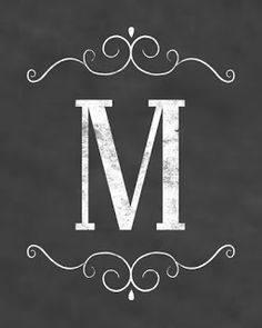 Free Initial Sign Printables - Chalkboard Design - Digi-Mama's - Free Printables Monogram M Chalkboard Designs, Chalkboard Art, Chalkboard Printable, Printable Letters, Printable Art, Monogram Letters, Free Monogram, Wood Letters, Monogram Fonts
