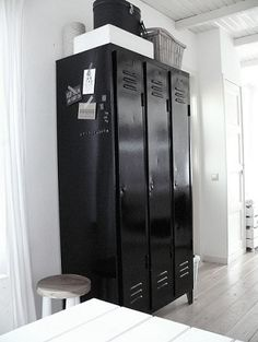 Black industrial lockers