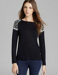 525 AMERICA Pearl Beaded Saddle Shoulder Sweater