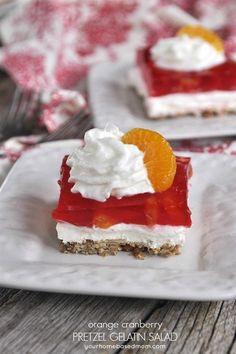Orange Cranberry Pretzel Gelatin Salad for Thanksgiving Recipe