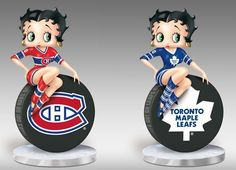 "Betty Boop™ loves to cheer on her two favorite teams, Montreal Canadiens & Toronto Maple Leafs, in style and with a little bit of sass! Now, this hockey honey looks ready to take the ice in the first-ever officially-licensed Betty Boop™ NHL® figurine available exclusively from The Bradford Exchange. It showcases a hand-cast sculpture of Betty Boop™—fashionably outfitted in official colors, poised on a hockey ""puck"" adorned with the official team logo."