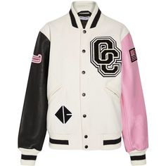 Opening Ceremony Appliquéd wool-blend twill and leather bomber jacket (273.070 CRC) ❤ liked on Polyvore featuring outerwear, jackets, pink, bomber jacket, real leather jackets, leather sleeve bomber jacket, cream jacket and american flag jacket
