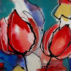 painting tulips abstract various sizes - buy at mooiaandemuur . Art Floral, Painting & Drawing, Watercolor Paintings, Tulips Images, Artificial Flowers, Garden Art, Flower Art, Art Drawings, Art Projects