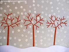 Q-tip winter scene ... maybe I can make a tree stamp to use....