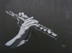 Flute Hands by Richard Le Page Flute Drawing, Painting & Drawing, Flute Tattoo, Music Drawings, Krishna Painting, Room Pictures, Hand Art, Art Projects, How To Draw Hands
