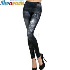 Women Leggings Elastic Butterfly Printing Slim Fit Imitation Jeans Leggins Pencil Pants Stretch Skinny Legging Spring