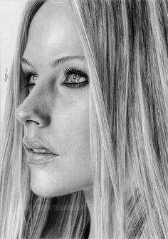 A life like pencil portrait of @Avril Lavigne. #pencil #drawing