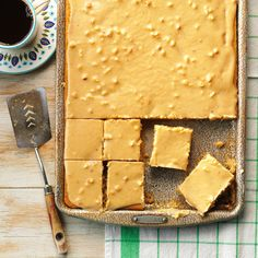 Peanut Butter Sheet Cake Recipe -A minister's wife gave me this recipe...and my family loves it. It's a great treat to share. —Brenda Jackson, Garden City, Kansas