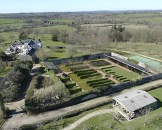 Listed Walled Garden. Aerial view. Contemporary Architecture. Hawkes.