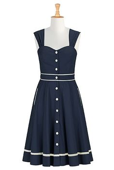 eShakti Womens Tipped trim poplin shirtdress $59.95 AT vintagedancer.com