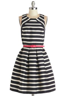 Socialite Up the Room Dress. You make entertaining look effortless, mingling through the crowd in this striped fit and flare frock!  #modcloth