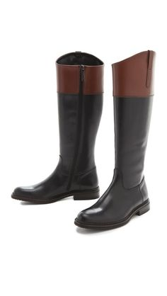 Studio Pollini Flat Two Tone Riding Boots | SHOPBOP