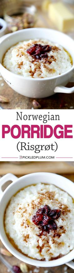 Norwegian Porridge (Risgrt) With Dried Cranberries - Hearty breakfast that's sweet, fruity and creamy. Gluten free and so easy to make! | pickledplum.com