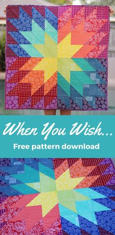 A free baby mat quilt pattern download. This rainbow star quilt pattern is quick, easy and perfect for beginners. Sew this quilt for a mama who wants bright, bold nursery accessories. A free quilt pattern by Kirsty at Bonjour Quilts.
