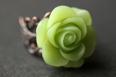 Sage Green Rose Ring. Green Flower Ring. Gold Ring. Silver Ring. Bronze Ring. Copper Ring. Adjustable Ring. Handmade Jewelry. by StumblingOnSainthood from Stumbling On Sainthood. Find it now at http://ift.tt/1NlmAtr!