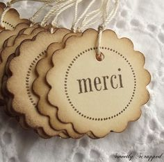 9a2249827d4918 Items similar to 12 MERCI Thank You Tags - Vintage Inspired
