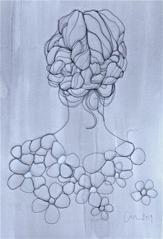 'Petal' Sculptural drawing in metal wire by Christina James Nielsen